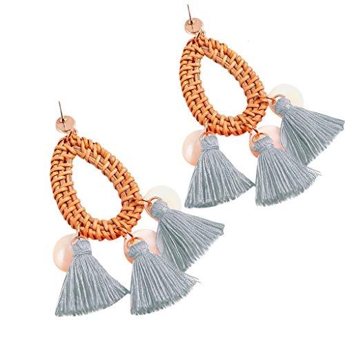 - Psunrise Pendientes Bohemian Rattan Tassel Handmade Long Round Earrings Ladies Round Out Jewelry(3.5 × 10.5cm, Sky Blue)