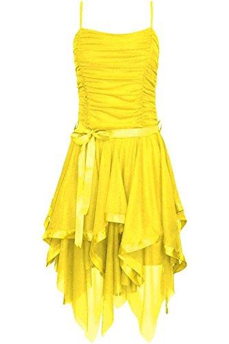 robe soire marie yellow S asymtrique Womens de dames de L M Strappy en soie Prom M de Fashions Islander mousseline robe vpw886