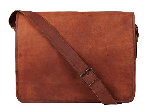 15 inch Vintage Crossbody Genuine Brown Leather Laptop Messenger Bag