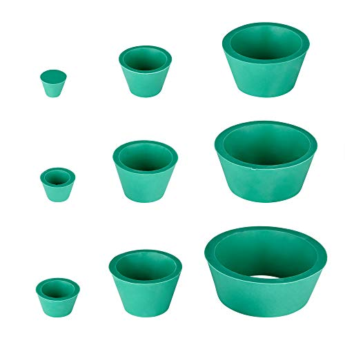 Bluecell Silicone Set of 9 Different Sizes Buchner Funnel Flask Tapered Collar Adapter for Filtration