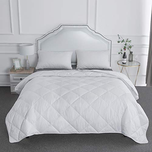 BESC Wool & Goose Down Fill Comforter King Size - Lightweight 380TC Silky Cooling Duvet Insert Humidity Fighting -90