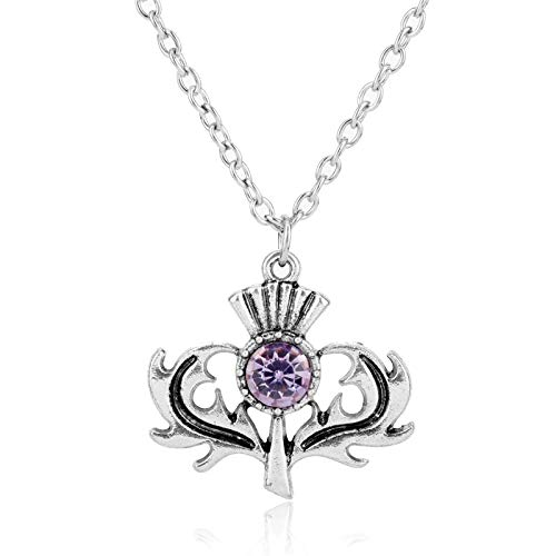 - Nattaphol Jewelry Fashion Outlander Scottish National Crystal Flower Pendant Necklace Scotland Thistle Necklace Lovely Thistle Gift