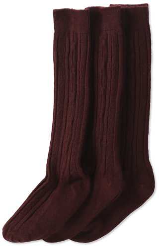 Jefferies Socks Little Girls'  School Uniform Cable Knee High  (Pack of 3), Burgundy, Small (Lightweight Knee High Socks)