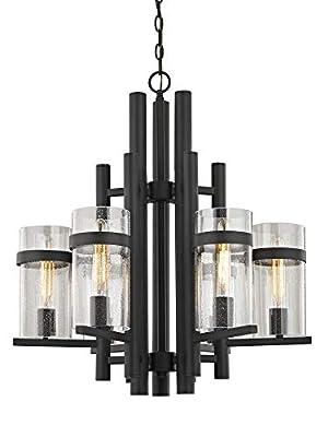Seeded Glass Industrial Chandelier Bronze 6-Light