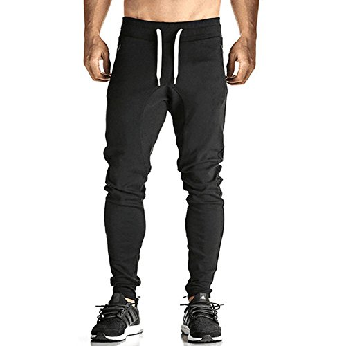 Men's Basic Active Running Gym Jogger Trousers with Zipper Pockets(Black,L)