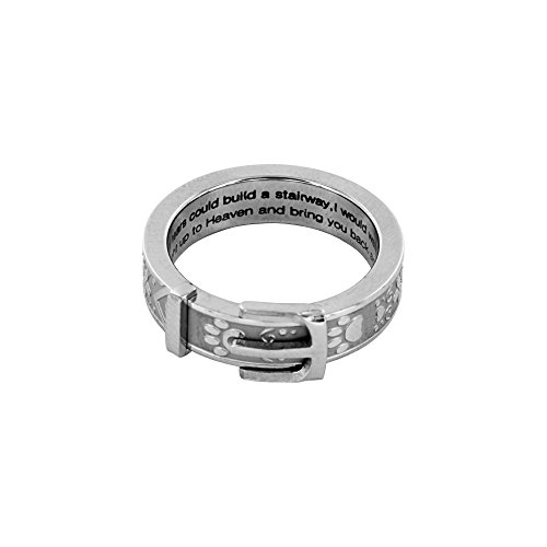 (Paw Print Collar Remembrance Ring (Silver, 6) )