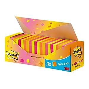 Post-it Pack-caja 24 Blocs Notas 654 Neón. Colores surtidos: rosa, rosa intenso, amarillo, amarillo intenso y naranja. 100 hojas/bloc