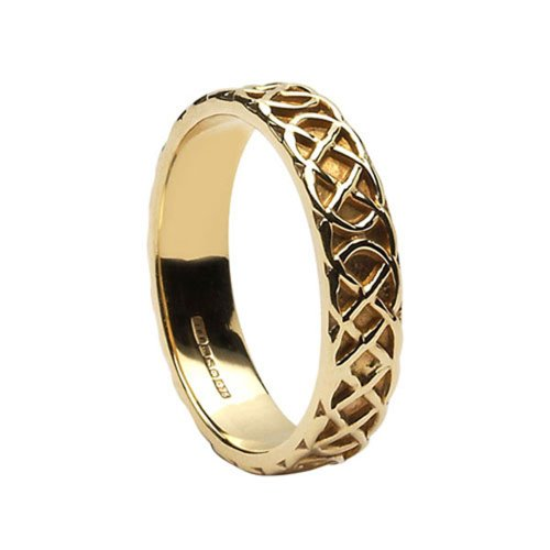 Celtic Knot Wedding Ring Ladies 14K Gold Irish Made