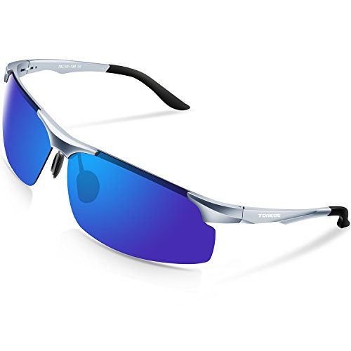 TOREGE Men's Sports Style Polarized Sunglasses Al-Mg Metal Frame Glasses M291(Sliver&Black Tips&Blue Lens)