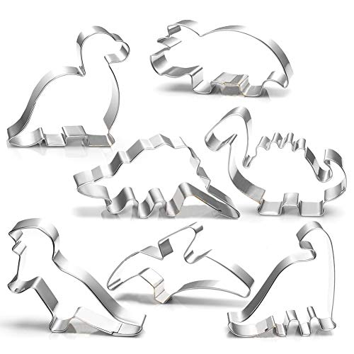 Dinosaur Cookie Cutters Set - 7 Pics Party Biscuit Cutters for Kids Sandwich -