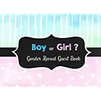 Boy or Girl?: Gender Reveal Party Guestbook and Keepsake Pink and Blue Chalk Theme