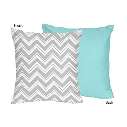 Sweet Jojo Designs Grey and White Chevron Decorative Accent Throw Pillow for Turquoise and Grey Zig Zag Collection