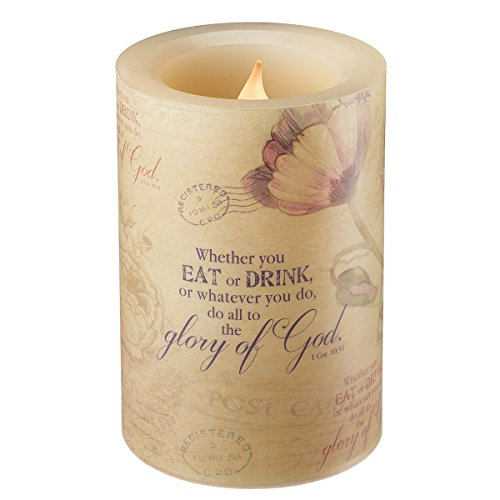 Floral Inspirations Collection Flickering Flameless Wax Pillar Candle (Small 4 x 5 7/8 inch) - 1 Corinthians 10:31 by Christian Art Gifts