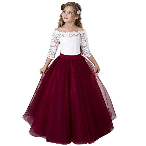 Flower Girls Butterfly Princess Dresses Floral Lace Applique Women's One-Shoulder Bridesmaids Formal Chiffon Wedding Pettiskirt Dress Long Dress Cocktail Evening Prom Party 2-13 Years,8