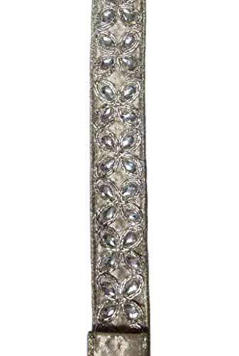 Luxury Embellished Ribbon - 1 inch Wide (Platinum Jeweled Flowers)