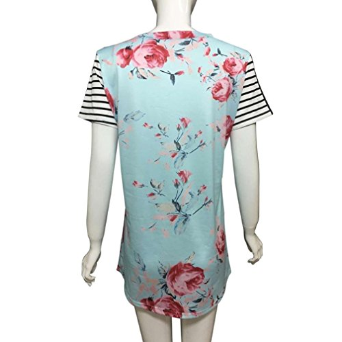 Women's Tops,Neartime tripe Short Sleeve Flower Printed T-shirt Blouse Fake Pocket (M, Blue) Photo #2