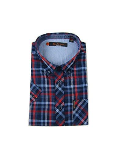 Ben Sherman Men's Short Sleeve Placed Texture Check Shirt, Mood Indigo, Small