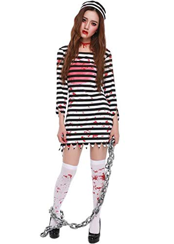 Weigkous Womens Prisoner Costume for Halloween Dress Up Costume with Hat