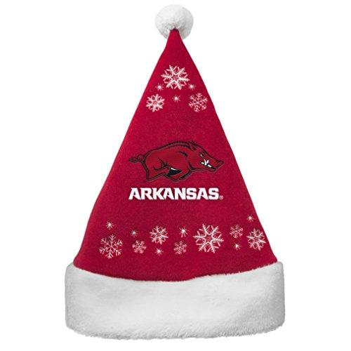NCAA Arkansas Razorbacks Full Embroidered Snowflake Santa Hat (Arkansas Razorbacks Santa Hat)