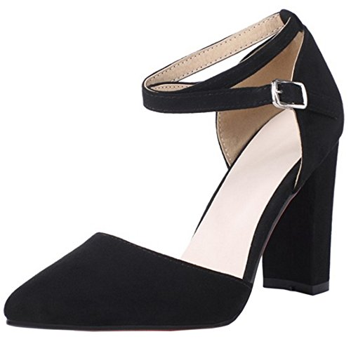 RAZAMAZA Mujer Moda Verano Cerrado Sandalias Criss Stappy Tacon Ancho Zapatos Negro