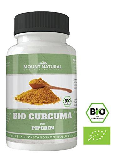 BIO Curcuma Kapseln, 2400 mg Tagesdosis, 180 Stück + Bio Piperin, laborgeprueft, hochdosiert + Curcumin + Schwarzer Pfeffer, vegan