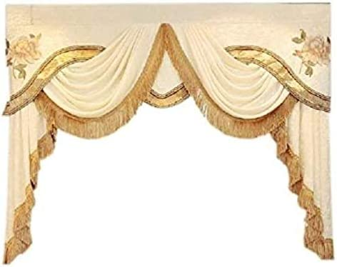 TIYANA European Style Luxury Waterfall Beige Valance Living Room Window Decoration Custom Curtain Valance Rod Pocket Top, 1 Piece W98