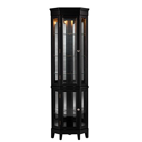 Essex Corner Curio Cabinet - Adjustable Glass Shelves - 2 Tier w/ Black Finish (Large China Cabinet)