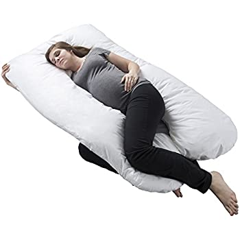 Pregnancy Pillow, Full Body Maternity Pillow with Contoured U-Shape by Bluestone, Back Support