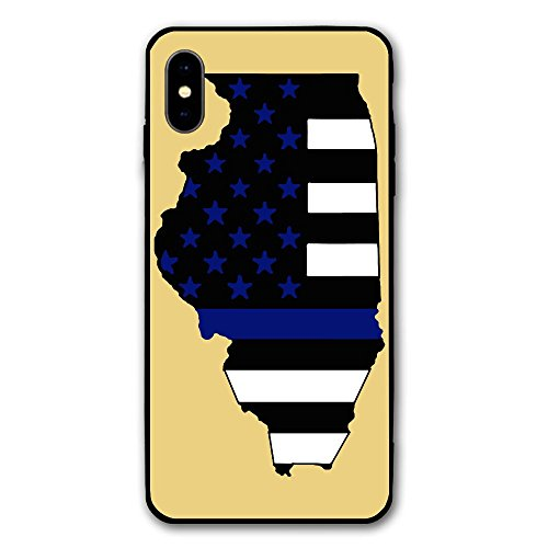 Thin Blue Line Flag Illinois Print IPhone X Case,Case For Apple IPhone X 2017 Release 5.8 ()