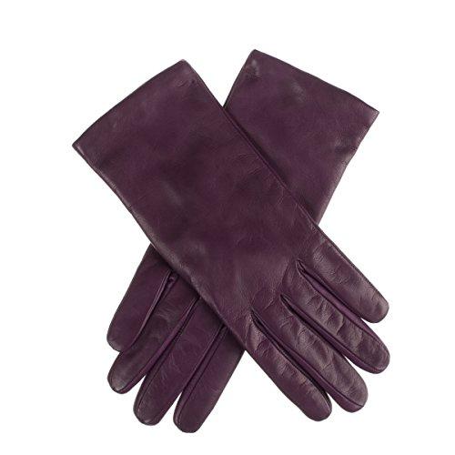 Lundorf Linea Women's Leather Gloves Italian Cashmere Lined 7 - Aubergine Italian