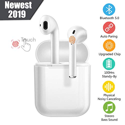 Bluetooth Headsets Wireless Earbuds Intelligent Noise Reduction Touch Headphones [Mini Charging Box] 3D Stereo Headphones in-Ear Built-in HD Microphone for iPhone Apple Airpod Android Headsets