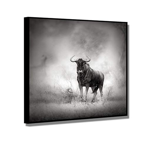 Buffalo Wall Art - Cow Paintings Canvas Wall Art with Matted Black Frame, SZ Framed Gray Buffalo in The Rain Picture, Appealing Prints Artwork Decor for Bedroom, Ready to Hang, 1.4