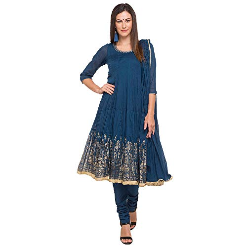 BIBA Women's Blue Cotton Salwar Kameez Dupatta Size 36 (Blue Salwar Suit)