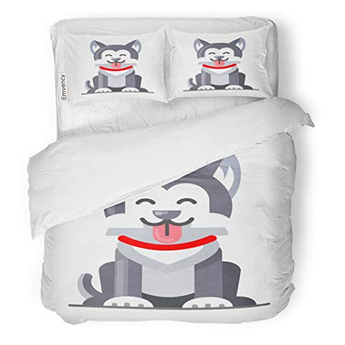 Semtomn Decor Duvet Cover Set King Size Animal of Flat Husky Dog Big Cartoon Collar Cute 3 Piece Brushed Microfiber Fabric Print Bedding Set Cover]()