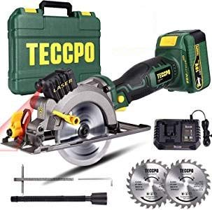 Circular Saw, TECCPO 18V 4500RPM Laser Cordless Saw, 24T 115mm Blade, 4.0Ah Battery, 1 Hour Fast Charger, Bevels up to 45°, Box - TDMS22P