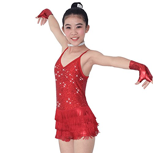 [MiDee Dance Costume Biketard Camisole Sequins Top with Fringes Skirt 4 Colors (LC, Red)] (Biketard Costume)