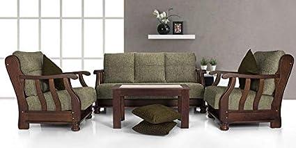 Zikra Prestige Five Seater Teak Wood Sofa Set Brown Colour Amazon In Home Kitchen