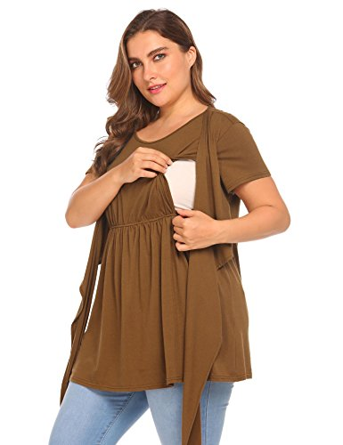 IN'VOLAND Women's Plus Size Tie Front Maternity Nursing Top Short Sleeve Ultra...