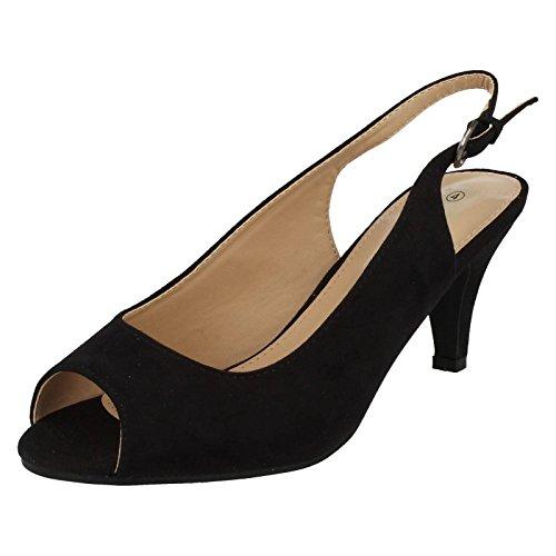 Ladies Anne Michelle Wide Fit Slingbacks F10593 Black 6i1ycCJC
