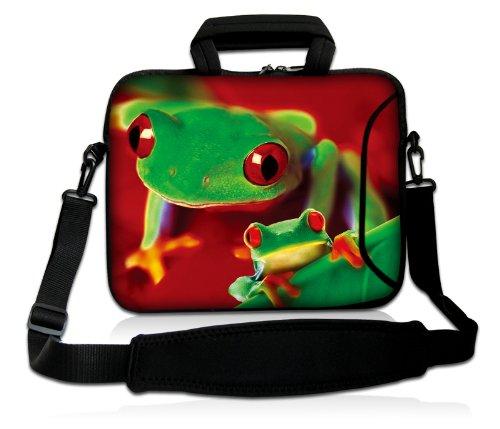 Luxburg® Design Funda bandolera Blanda Bolso Sleeve para Ordenador Portátil / MacBook de 17,3 pulgadas, motivo: Peces de colores Duo de ranas