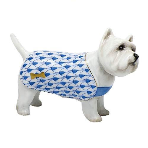 Herend West Highland Terrier Puppy Dog Porcelain Figurine Blue Fishnet