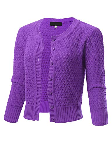 Womens Button Down 3/4 Sleeve Crewneck Cropped Knit Cardigan Crochet Sweater S Blueberry ()