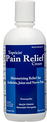 Topricin Pain Relief Therapy Cream (8 oz) Fast Acting Pain Relieving Rub for Arthritis, Back & Neck Aches, Fibromyalgia, Sciatica, Plantar Fasciitis, Sore Muscles & Joints, Carpal Tunnel, Chronic Pain