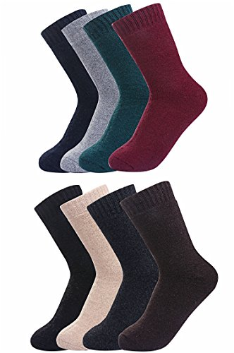 Luxina 8 Pairs Warm Thick Wool Knitting Autumn Winter Socks for Men Solid Color - Cashmere Cotton Shorts