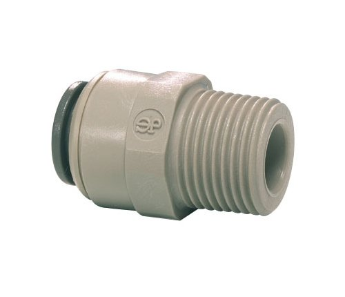John Guest Straight Adaptor 3/8 inch Tube OD x 1/4 inch NPTF Male Thread (one individual)