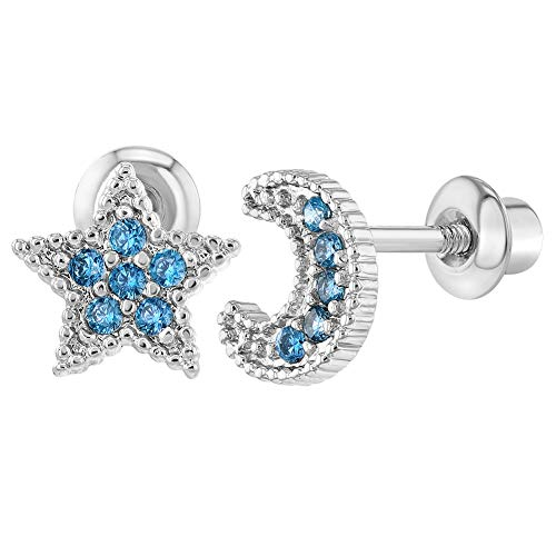 Rhodium Plated Screw Back Earrings Toddlers Little Girls Kids Blue CZ Moon Star