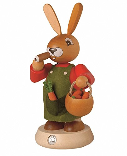 Müller German incense smoker Easter bunny, height 19 cm / 7 inch, original Erzgebirge by Mueller Seiffen