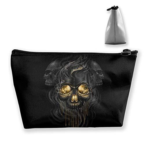 Makeup Bag Cosmetic Artwork Skull Black Portable Cosmetic Bag Mobile Trapezoidal Storage Bag Travel Bags with Zipper]()