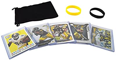 Antonio Brown (5) Football Cards & Wristbands Gift Pack Pittsburgh Steelers Assorted NFL Trading Cards #84