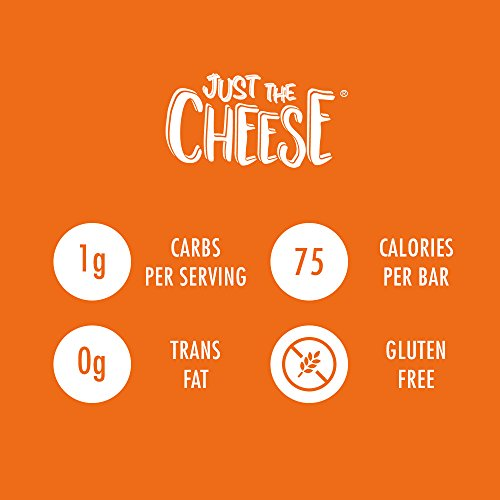 Large Product Image of Just the Cheese Bars, Crunchy Baked Low Carb Snack Bars. 100% Natural Cheese. High Protein and Gluten Free, Aged Cheddar (12 Two-Bar Packs)